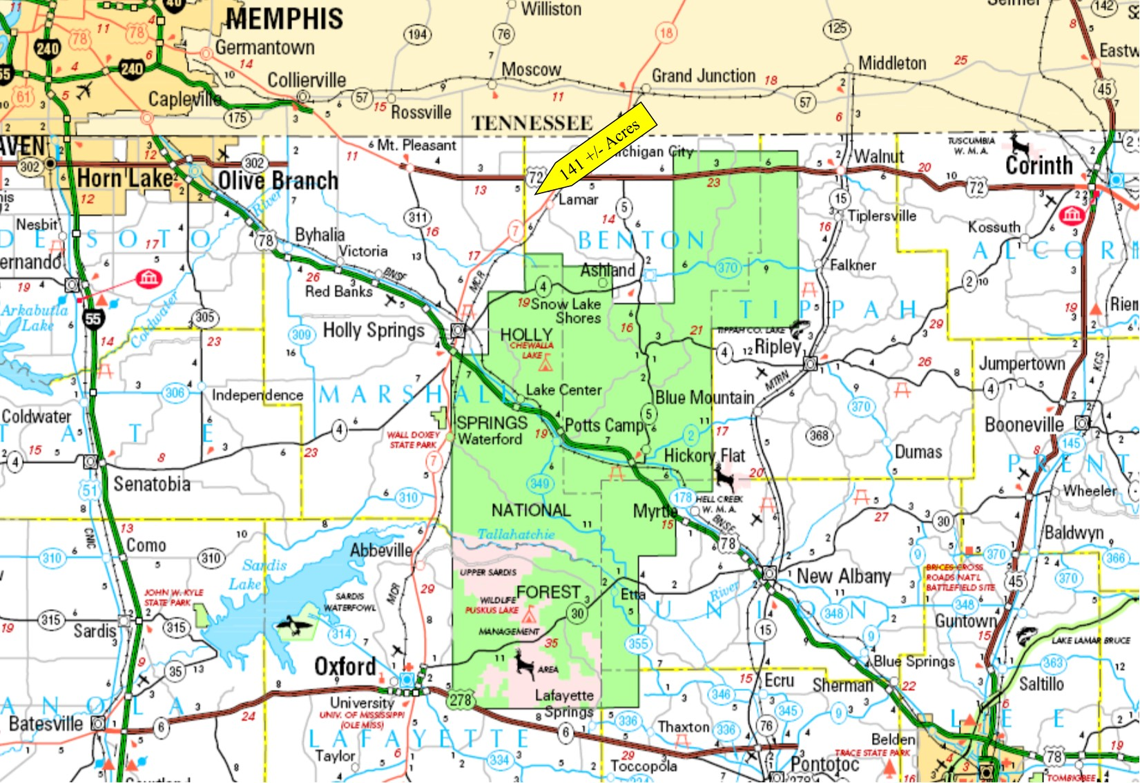 141  Acres Benton County Mississippi