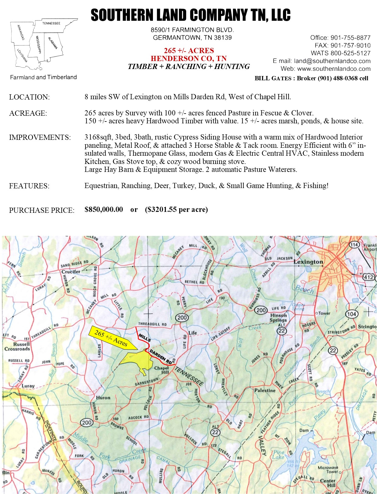 Henderson Tennessee Map.265 Acres Ranch Equestrian Timber Hunting Land Henderson